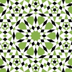 decagon star : green + black + white
