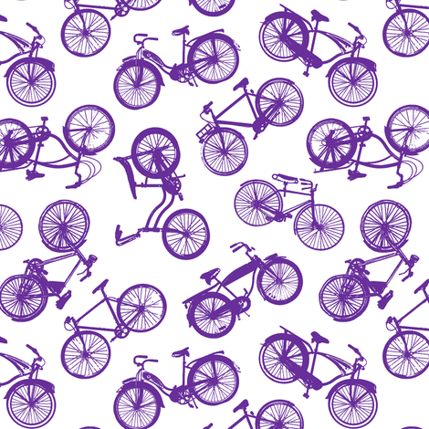 Vintage Bicycles // Violet fabric by thinlinetextiles on Spoonflower - custom fabric