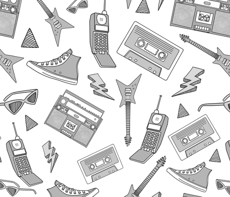 90s Life 90s Style Illustrations On Fabric Wallpaper