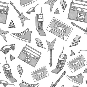 90s Life // 90s Style Illustrations on Fabric, Wallpaper & Gift Wrap // Black, White, and Gray