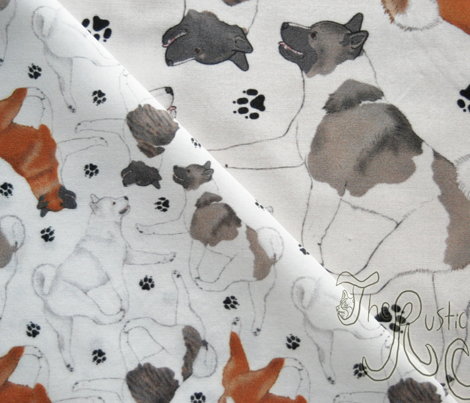 Tiny Trotting Akitas and paw prints - white