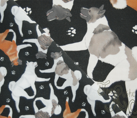 Trotting Akitas and paw prints - tiny black