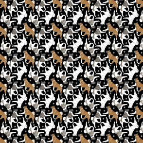 Tiny Trotting Akitas and paw prints - black