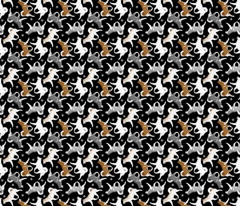 Trotting Alaskan Malamutes and paw prints - tiny black fabric by rusticcorgi on Spoonflower - custom fabric