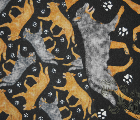 Trotting Australian Cattle Dogs and paw prints - tiny black