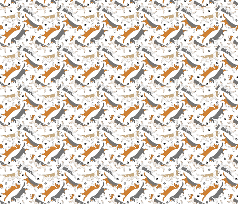 Trotting Basset hounds and paw prints - tiny white fabric by rusticcorgi on Spoonflower - custom fabric