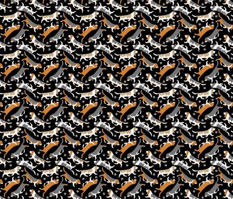 Trotting Basset hounds and paw prints - tiny black fabric by rusticcorgi on Spoonflower - custom fabric
