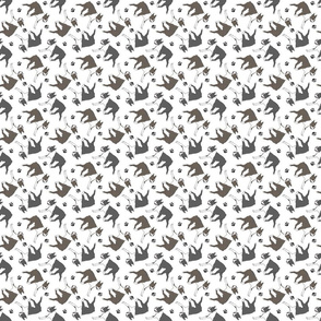 Trotting Boston Terriers and paw prints - tiny white