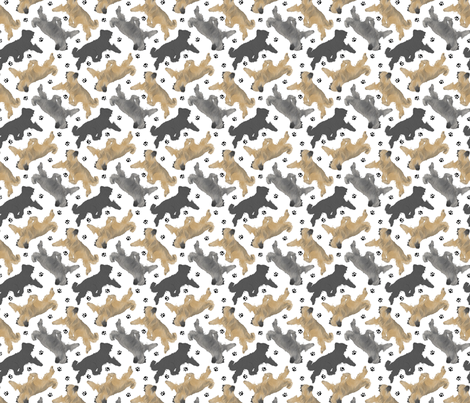 Trotting Briards and paw prints B - tiny white fabric by rusticcorgi on Spoonflower - custom fabric