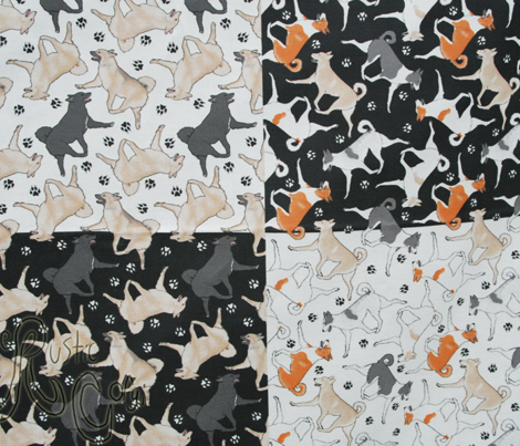 Trotting Canaan dogs and paw prints - tiny white