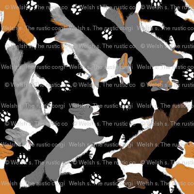 Trotting Cardigan Welsh Corgis and paw prints - tiny black