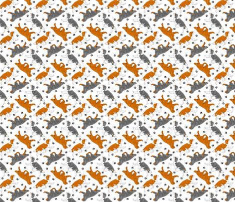 Trotting Cavalier King Charles Spaniels and paw prints - tiny white fabric by rusticcorgi on Spoonflower - custom fabric