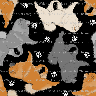 Trotting Chow Chow and paw prints - tiny black