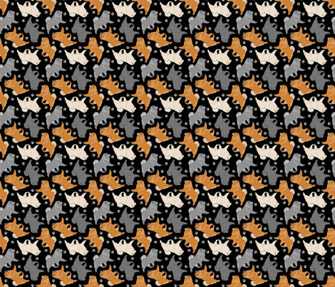Trotting Chow Chow and paw prints - tiny black fabric by rusticcorgi on Spoonflower - custom fabric