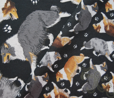 Trotting rough coated Collies and paw prints - tiny black