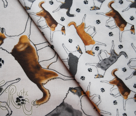 Trotting smooth coated Collies and paw prints - tiny white