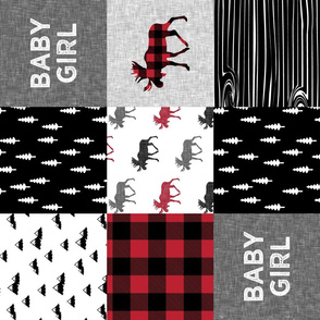 baby girl quilt top (90) || plaid moose wholecloth camping