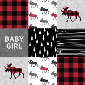baby girl quilt top || plaid moose wholecloth camping