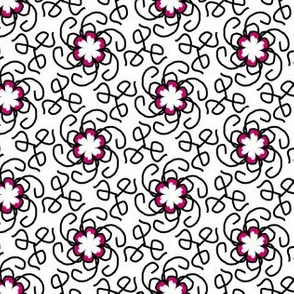 Pink and Black Swirl Flower Pattern