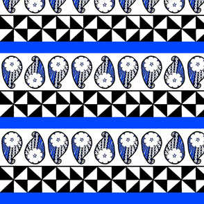 Blue Masi Paisley Stripes
