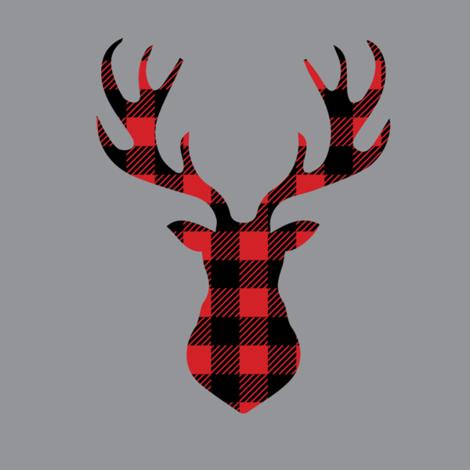 Deer head plaid. Quilt block buffalo