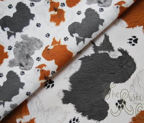 Trotting Havanese and paw prints B - tiny white