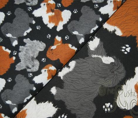 Trotting Havanese and paw prints B - tiny black