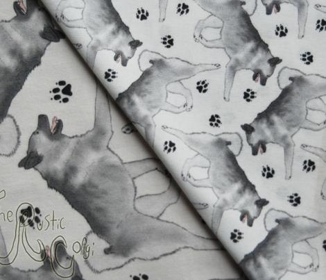 Trotting Norwegian Elkhound and paw prints - tiny white