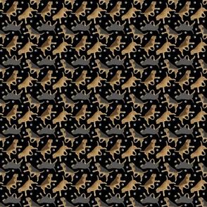 Trotting Otterhounds and paw prints - tiny black