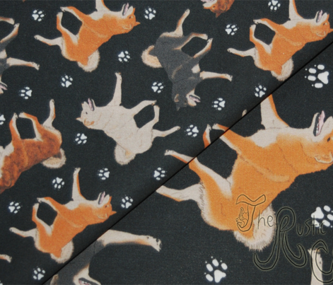 Trotting Shiba Inu and paw prints - tiny black
