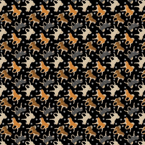 Trotting Shiba Inu and paw prints - tiny black