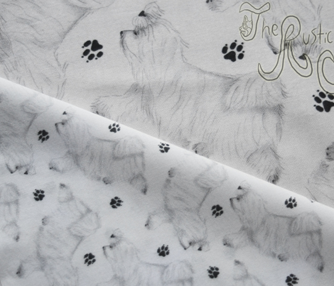 Trotting Maltese and paw prints - tiny white