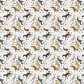 Trotting Whippets and paw prints - tiny white
