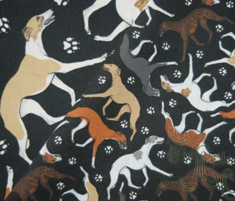 Trotting Whippets and paw prints - tiny black