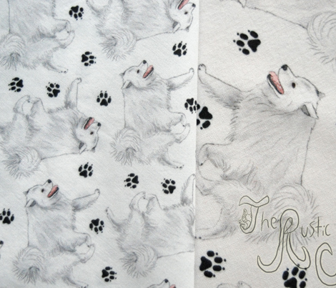 Trotting American Eskimo Dog and paw prints - tiny white