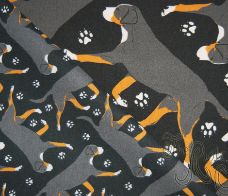 Trotting Greater Swiss Mountain Dog and paw prints - tiny black