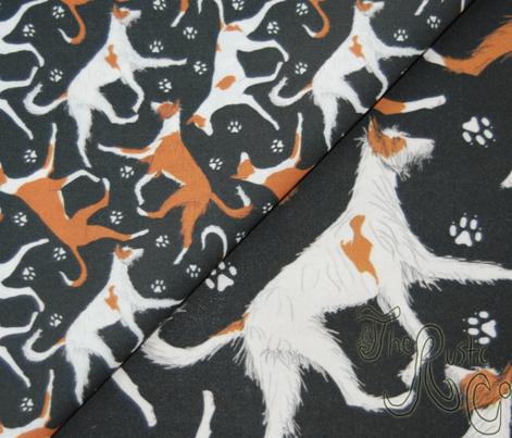 Trotting Ibizan hounds and paw prints - tiny black