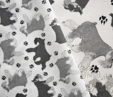 Trotting Miniature Schnauzers and paw prints - tiny white