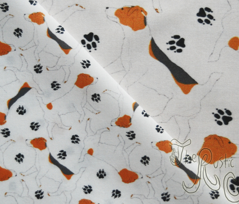 Trotting Russell Terriers and paw prints - tiny white