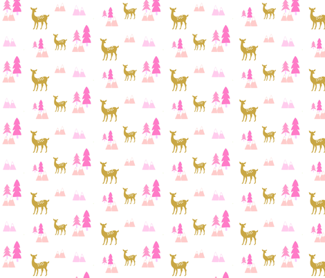 Meadow Deer45 SMALL -Pink  fabric by drapestudio on Spoonflower - custom fabric
