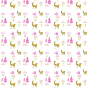 Meadow Deer45 SMALL -Pink rain