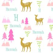 Meadow Deer -Pink rain Personalized HANNAH