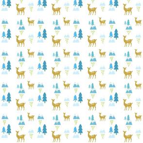 Meadow Deer45 SMALL -blue rain
