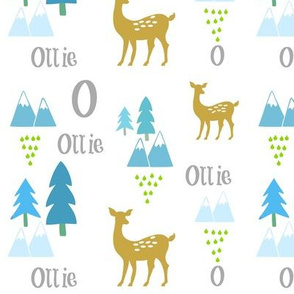 Meadow Deer -blue rain-PERSONALIZED Ollie