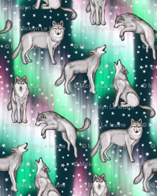 Aurora Borealis with Wolves