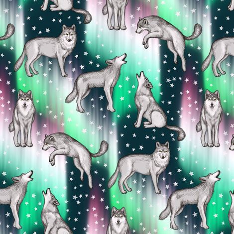 Aurora Borealis with Wolves fabric by micklyn on Spoonflower - custom fabric