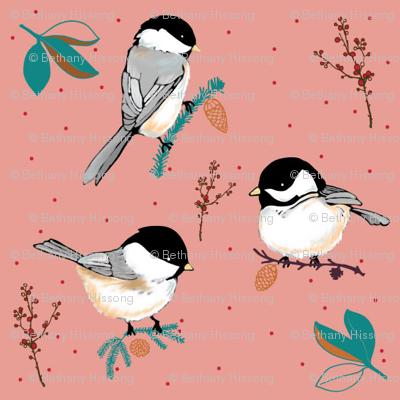 WINTER BIRDS on pink
