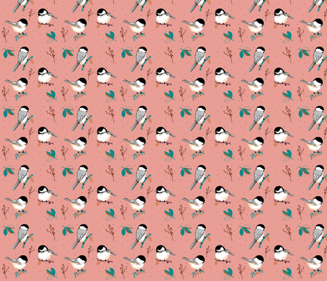 WINTER BIRDS on pink fabric by bethanyhissong on Spoonflower - custom fabric