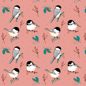 WINTER BIRDS on pink