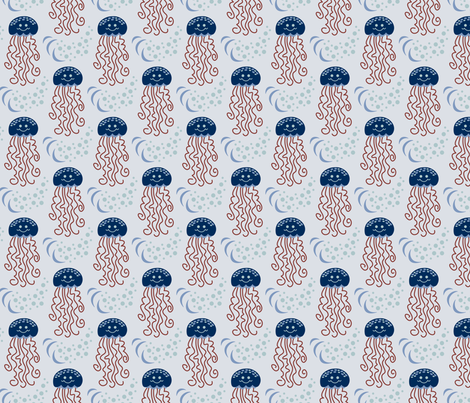Jeremy the Jellyfish (Classic Blues) fabric by brendazapotosky on Spoonflower - custom fabric